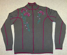 Cabela's Merino Wool Lightweight Cardigan with Floral Embroidery, Women's S