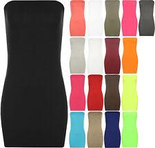 New Womens Boob Tube Stretch Bodycon Short Sleeveless Top Ladies Mini Dress