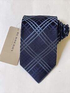 """NEW Burberry Blue Plaid Mans 100% Silk Tie Authentic Italy 3.5"""" 0350354"""