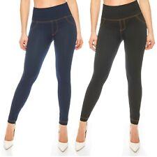 Damen-Hose Damen-Leggings Blickdicht High-Waist Hoher-Bund Jeans-Look 36 - 42