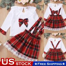 Toddler Kids Baby Girls Dress Clothes Plaids Shirt Tops Skirt Xmas Outfits Set