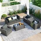 7pc Patio Wicker Rattan Sectional Sofa Chair Loveseat Patio Garden Furniture Set
