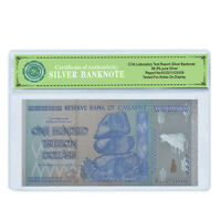 WR Zimbabwe 100 Trillion Dollars Banknote Color Silver Plated Note In COA Sleeve