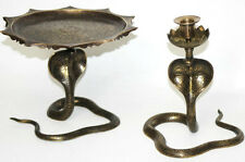 A Set of Handcrafted Indian Brass Cobra Stand and Candlestick [PL2709]