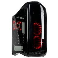 Kolink Punisher Midi Tower ATX Red LED Desktop PC Gaming Case Black