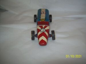 Vintage Pinewood Derby Wood Grand Prix Derby Race Car Red White & Blue Star 8