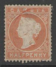 GAMBIA SG10B 1880 ½d ORANGE WMK UPRIGHT USED