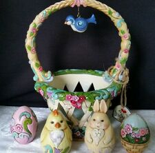 Jim Shore Easter BASKET FULL OF SURPRISES with Eggs, Chick, Bunny 2012
