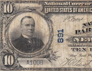 Nice 1902 $10 NEW YORK, NY National Banknote! Ch. 891! FREE SHIPPING! A1008
