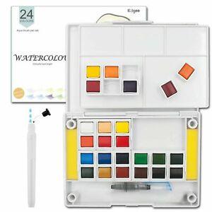 Watercolour Paint Set 24 colours Pocket-Sized Box Aqua Brush Included Ezigoo