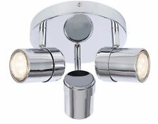 3 Way Round Chrome Interior Ceiling Mount Spotlight Light Silver Bulbs included