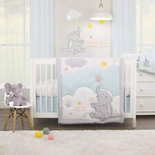 Disney Dumbo Elephant 3 Piece Baby Cot Bedding Set Blue Quilt Sheet Valance New