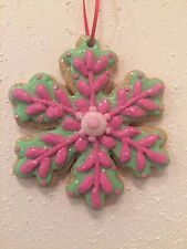GINGERBREAD SNOWFLAKE COOKIE CLAY CHRISTMAS ORNAMENT  DECOR ST. NICHOLAS SQUARE