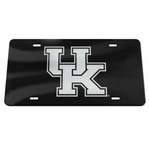 KENTUCKY WILDCATS BLACK AND SILVER CRYSTAL MIRRORED LICENSE PLATE NCAA