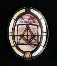 """Masonic """"Continuing Our Obligation"""" Stained Glass Motif Lapel Pin (MAS-OB)"""