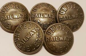 Antique Lot 5 Uniform Buttons - UNITED RAILWAYS ELEC. CO. Railroad RR A. Jacobs