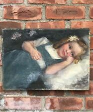 C1890 Oil On Canvas Dutch Portrait Of Girl With Butterfly. After Matthijs Maris