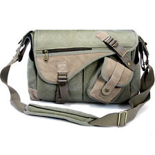 Matin Cotton Canvas Shoulder Bag Leonard-350 Green for Canon Nikon Sony Olympus