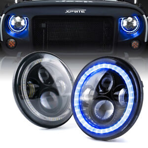 "Xprite 7"" 90W Round LED Headlights w/ Blue Ring for 97-18 Jeep Wrangler JK TJ"