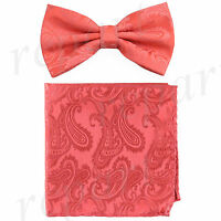 New formal Men's micro fiber Pre-tied Bow Tie & Hankie coral paisley wedding