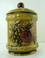 "Lefton Vintage Geo Z #4131 Canister Jar Apple Grape Pear Design 9"" x 6.5""Round"