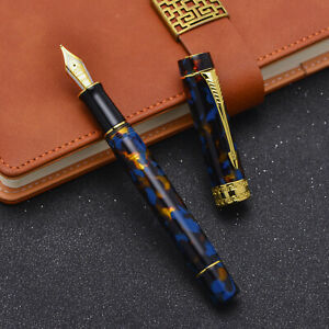 Jinhao 100 Marble Brown Resin Fountain Pen Gold Trim EF/F/M/ Bent Nib Pen