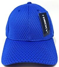 DECKY Mesh Jersey Flex Fit Cap Perforated Dad Hat Curved Visor OSFM Blue NWT