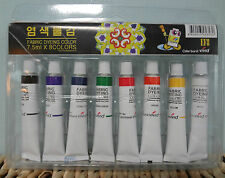 New Non Toxic Dye Textile Fabric Paint Tubes 8 Colors Set 7.5ml - Made in Korea