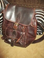 FANTASTIC VINTAGE BROWN DISTRESSED LEATHER HEAVY DUTY BACKPACK BAG, LQQK!!