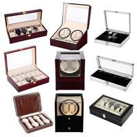 2/4/6/8/10/12 Grid Watch Jewelry Storage Display Case Watch Slot Winder Box Gift