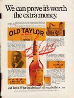 1969 Old Taylor 86 Proof Bourbon Yellow Label Details Vintage Photo Print Ad