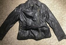 Guess Women's Belted Faux Leather Moto Jacket Size XL Black Heart Zipper