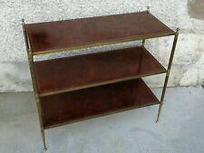 table desserte Design Jansen ? Cuir laiton 3 niveaux Leather brass