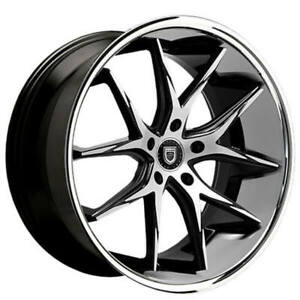 "(4) 22"" Lexani Wheels R-Twelve Black Machined W Chrome Lip Rims (B45)"