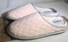 Dearfoam Women's Size M (7/8) Cable Quilt Clog Slippers Pink/Gray Trim Scuffs