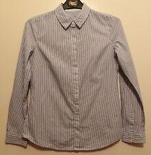 Weiße Bluse Langarm mit blauen Streifen Gr. S von MANGO