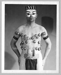 Fakir Musafar self-portrait -  Wearing Lead, c. 1962 - 4x5 B&W work print