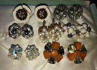 Vintage Colorful Rhinestone Enamel Flower Cluster Clip-On Earrings Lot- 7 Pairs