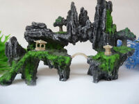 Aquarium Decoration Hill Bridge and Tree For fish Tank Resin Ornaments AK287