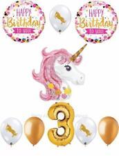 9 pc PINK & GOLD Unicorn 3rd Birthday Balloon Set Pegasus THIRD FREE SHIPPING