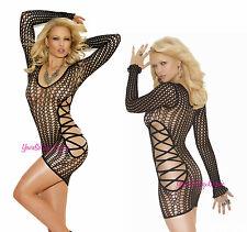 Plus Size CROCHET MINI DRESS Deep V BLACK Long Sleeves Criss Cross Side See-Thru