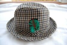 Brown Black Gray Houndstooth Check STETSON Fedora Style Hat Medium or 7