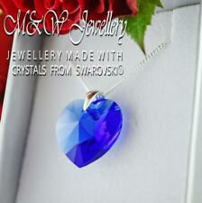 925 Silver Necklace Pendant Crystals from Swarovski® HEART 18mm - MAJESTIC BLUE