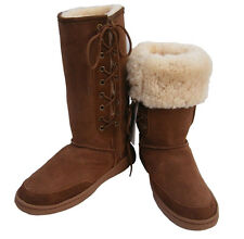 Tall Laceup Ugg Boots Australian Moulded Sole Chocolate Brown Sheepskin New