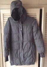 Bench Ladies/Girl Grey long down zip padded winter jacket coat hoodie Size XS