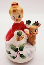 Vtg Josef Orig. Christmas Girl W/Rudolph Music Box *Been Repaired*