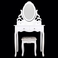 Home White Dressing Table Oval Mirror & Stool Set (4 Drawer) Bedroom Makeup Desk