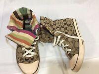 """COACH """"Bonney""""Womens Signature High Top Sneaker Shoes Multi Color Stripe Sz 8 M"""