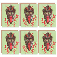 Christmas Cards x6 Krampus Anti Santa Funny Devil Merry Krampus XMPACK042_CP