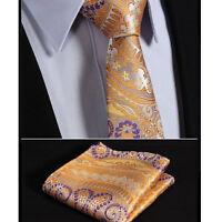 SALE Mens Tie Yellow Purple Orange Floral Paisley Wedding Silk Necktie + Hanky